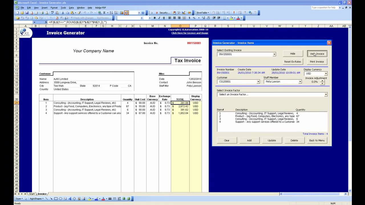 Excel Invoice Generator Demo YouTube - Program to create invoices for service business
