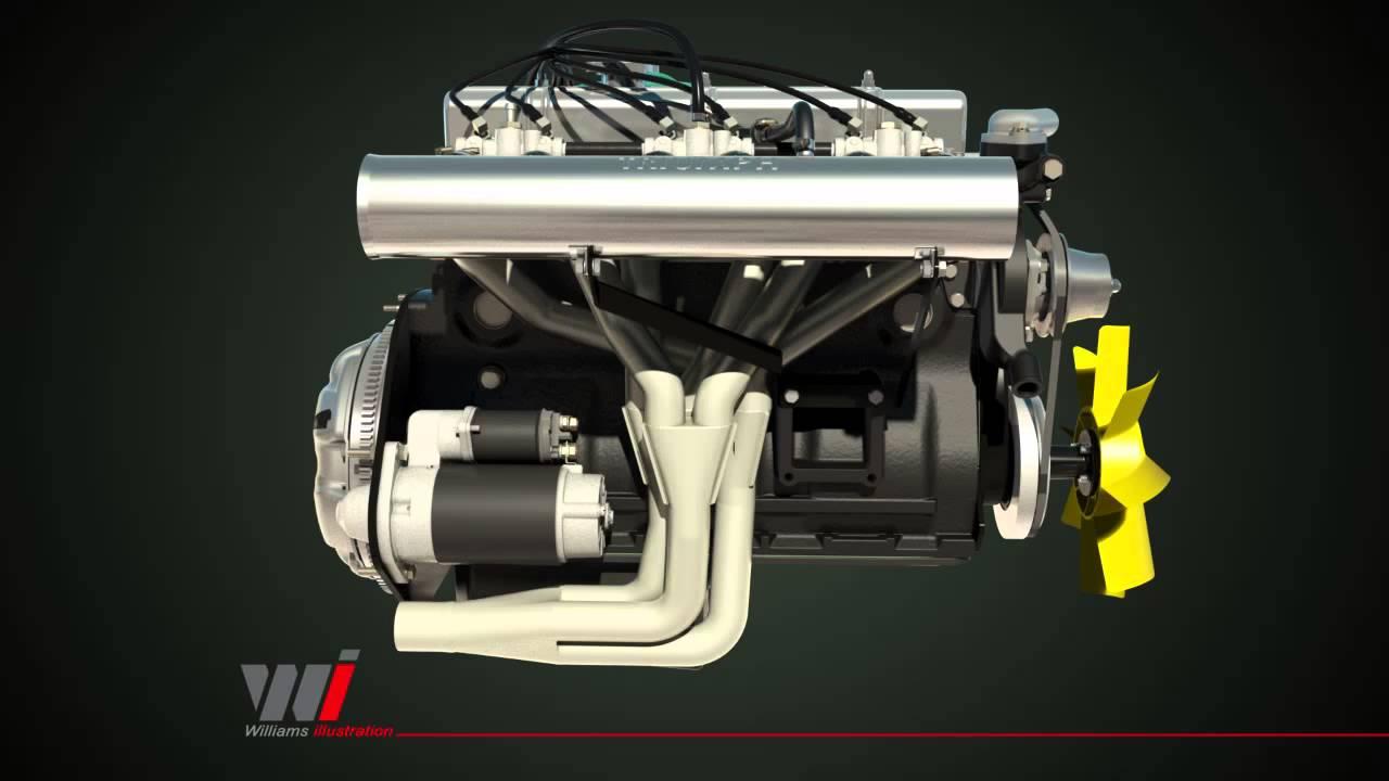 TR6 Motor  Engine Animation  YouTube