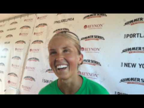 Team Portland's Jordan Hasay talks about finishing 2nd in the road run