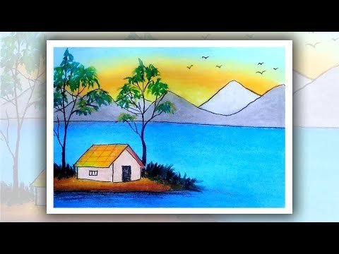 How to draw mountains for beginners with oil pastel