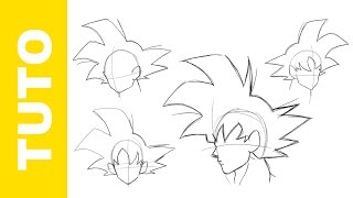 Comment dessiner Dragon Ball Z La tête de GOKU Tutoriel