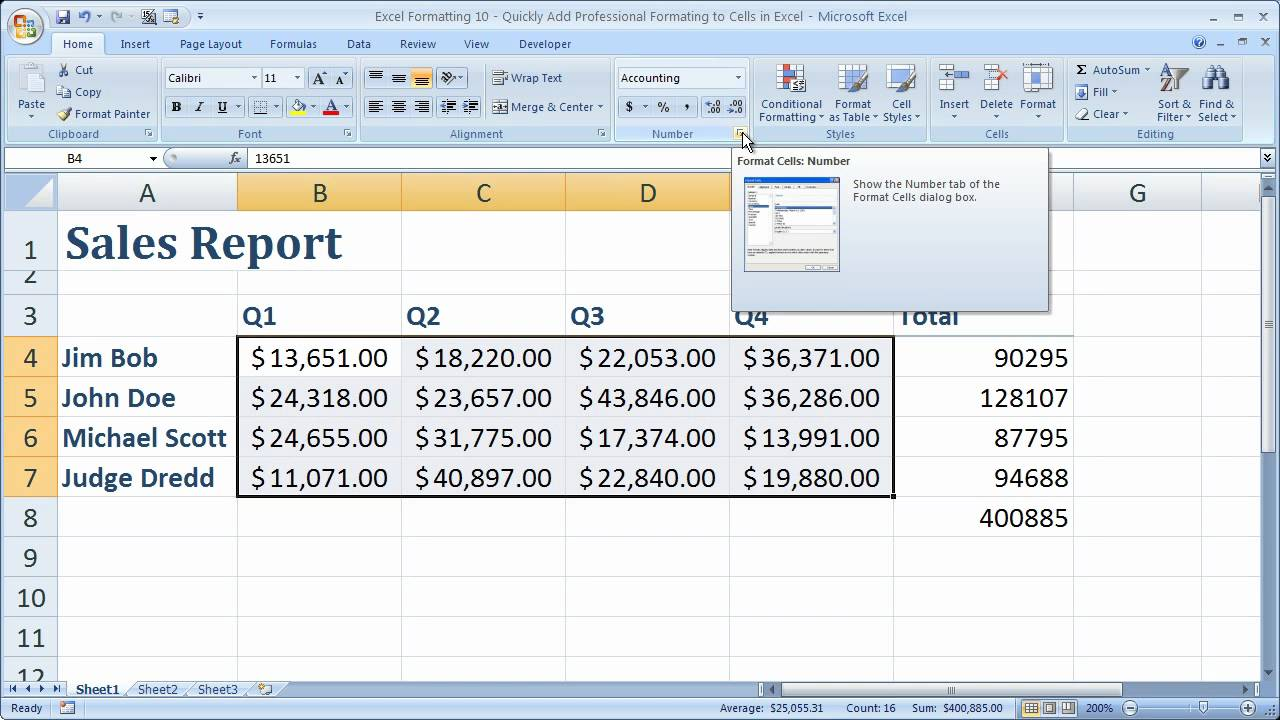 Excel Formatting Tip 10 - Quickly Add Professional Formating to ...