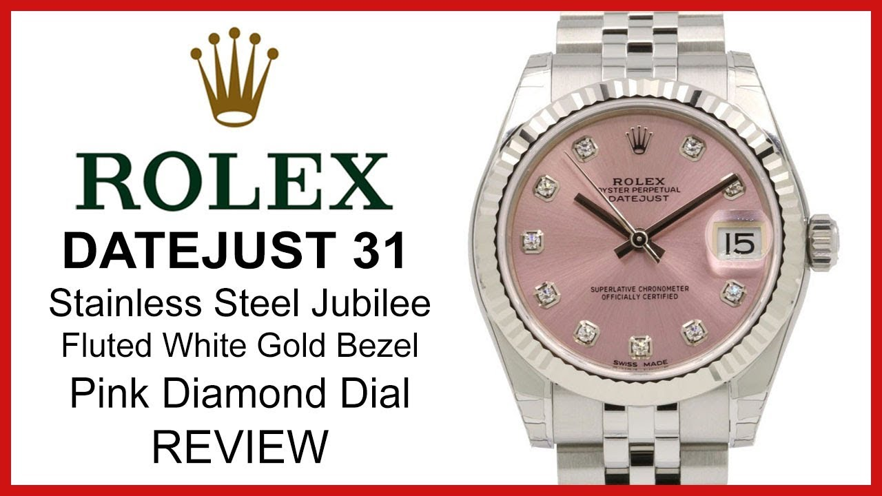 ▶ Rolex Lady Datejust 31mm REVIEW , pink diamond Dial, fluted white,gold  Bezel, Jubilee Bracelet