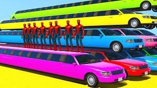 Длинные Цветные Машинки Лимузины и Супергерои- Мультик про Машинки для дЕТЕЙ
