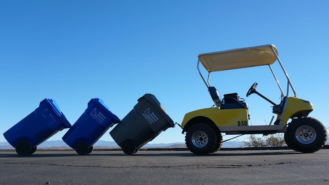 Trash Can Transport Train Via Golf Cart Garbage Commander Youtube