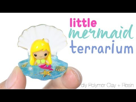 How to DIY Little Mermaid Sea Shell Terrarium Polymer Clay Resin Tutorial