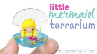 How to DIY Little Mermaid Sea Shell Terrarium Polymer Clay Resin Tutorial