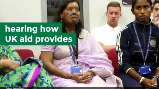 England Cricket Team meet UK aid beneficiaries in Bangladesh