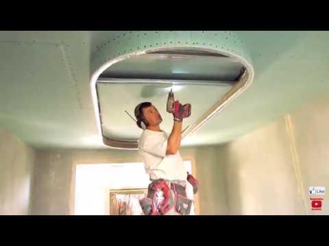 ИНТЕРЕСНЫЙ потолок на КУХНЕ, двухуровневый из гипсокартона