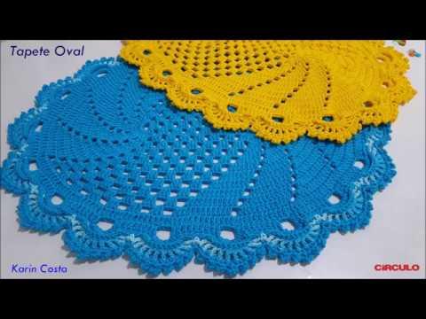 Tapete Oval / Simples / Fácil / Diy / Croche / 62x50cm/ BICO RUSSO /
