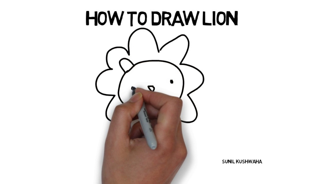 learn how to draw a lion very easy for kids youtube