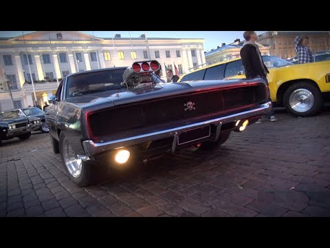 Helsinki Cruising Night 9 2014 Insane American Muscle Cars Youtube