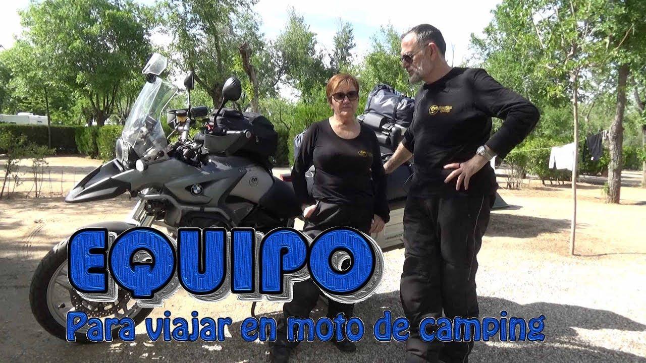Equipo para viajar en moto de camping