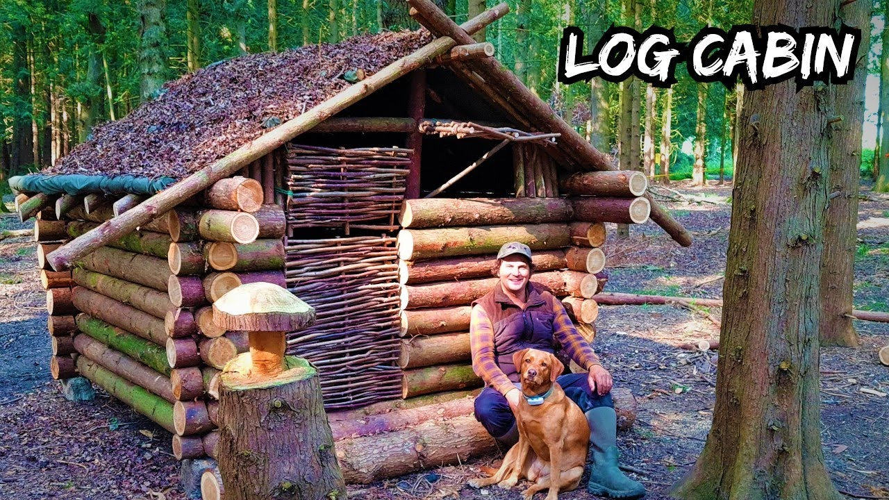 Building an Off-Grid Log Cabin in a Cedar Woodland using Hand Tools, Bushcraft Survival Shelter ep.4