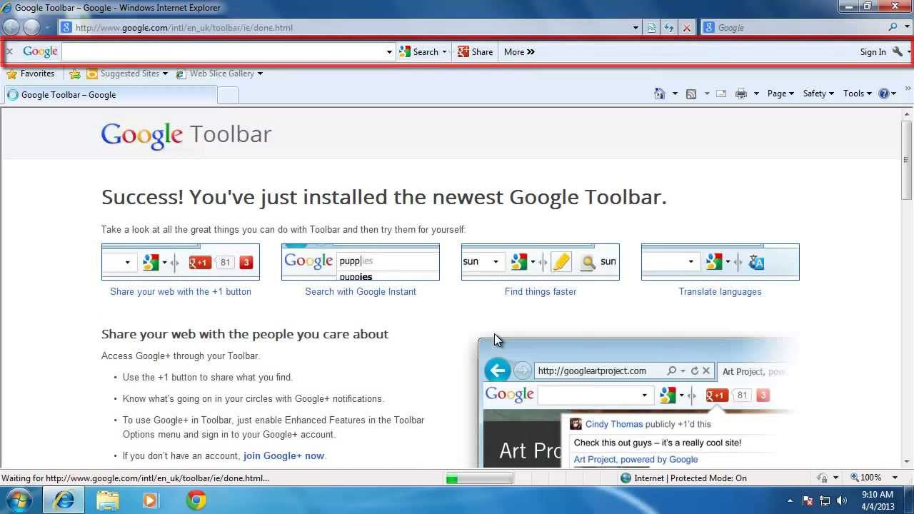 Homepage Show Toolbar