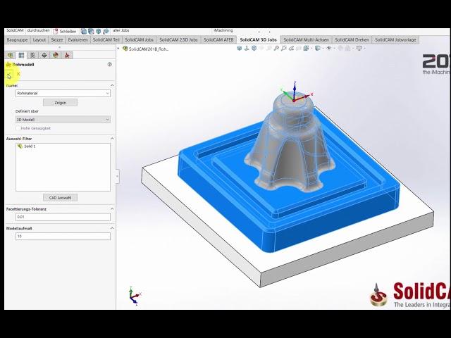 SolidCAM 2018 – Rohmaterial Option 3D Aufmaß