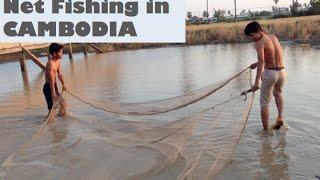 Catching fish using fishing net by Khmer People at Sangkat Krang Thnong