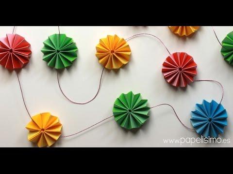 cmo hacer guirnalda flores de papel tipo acordeon - Hacer Guirnaldas