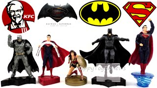 2016 KFC BATMAN V SUPERMAN DAWN OF JUSTICE MOVIE DC COMICS SET OF 5 KIDS MEAL TOYS COLLECTION REVIEW
