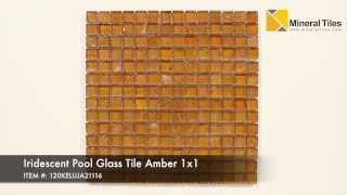 Iridescent Pool Glass Tile Amber 1x1 - 120KELUJA21116