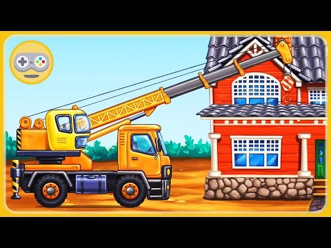 Cartoon game about cars for children - Construction equipment builds a house