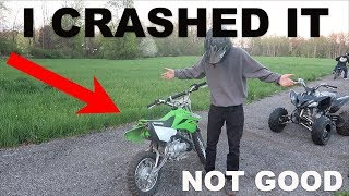 I CRASHED HIS NEW PIT BIKE HARD!!!