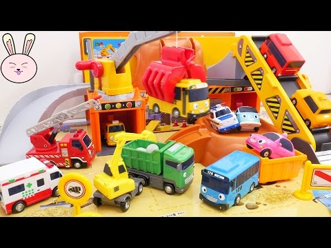 Thumbnail: Tayo Bus Toy Crane construction site video for children Wheels on the bus Nursery Rhymes