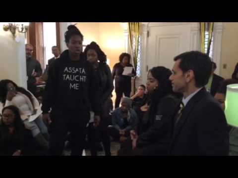 VCU student protestors speaking to President Michael Rao