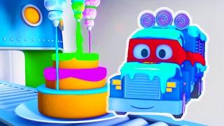 变形卡车卡尔和冰淇淋卡车在汽车城 ???? 儿童卡通片
