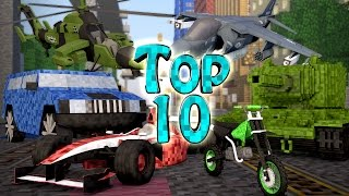 Minecraft TOP 10 | Modded Top 10 Vehicle Mods - Racecars vs Tanks! (Dirtbikes & Sports Cars)