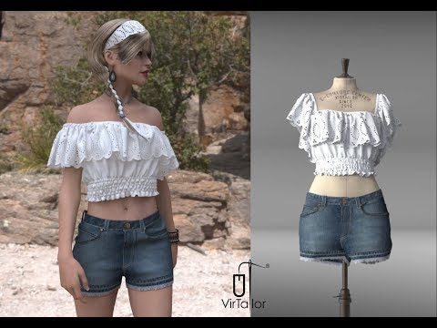 Women's short jeans with infinity bluse variation - 3D fashion imagination