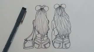 How to Draw Best Friends  Easy | Step by Step