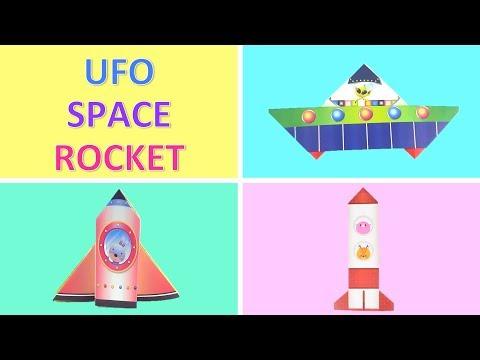 Cute Paper UFO 👽 Space Shuttle 🚀 Space Rocket, Spaceship 💕  DIY Fun Toys for Babies, Kids 💕