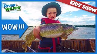 Boys fish MONSTER PIKE and WALLEYES at Fly-in Lodge