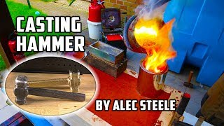 Casting Brass Hammer From Bullet Shells | Forged By Alec Steele