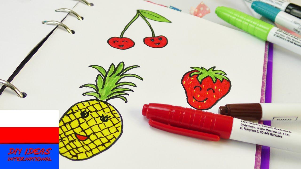 Ananas Rysunek malowanie i rysowanie w kaledarzu | owoce na lato | truskawka 🍓 wiśnia 🍒  ananas 🍍