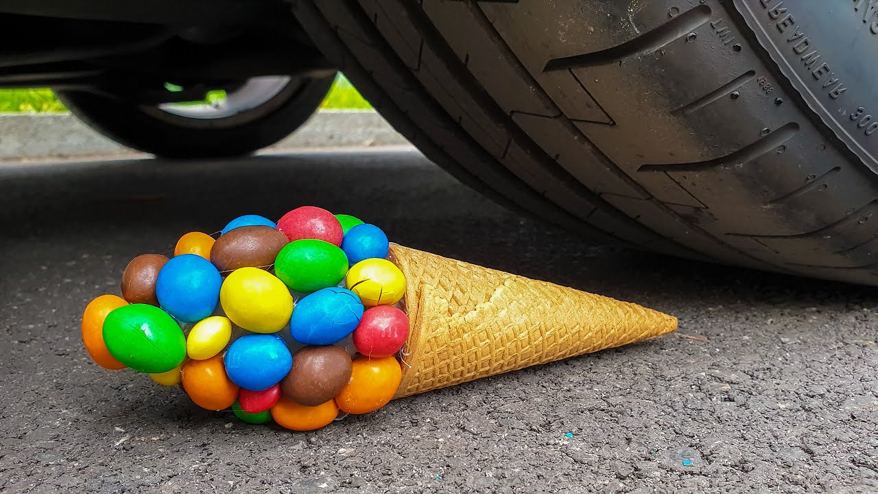 EXPERIMENT: COLORFUL CANDY ICE CREAM VS CAR - Crushing Crunchy & Soft Things by Car!