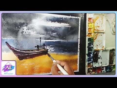 Black sky with boat landscape watercolor paintings by Art Explain