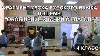 Урок русского языка в 4 классе - Обобщение знаний о глаголе