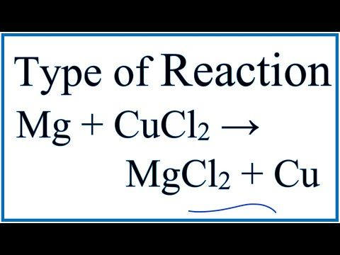 Type Of Reaction For Mg + CuCl2 → MgCl2 + Cu