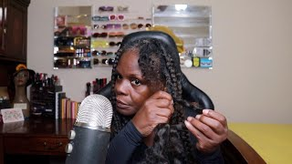 Taking out Old Braids ASMR Trident Chewing Gum & Hair Sounds