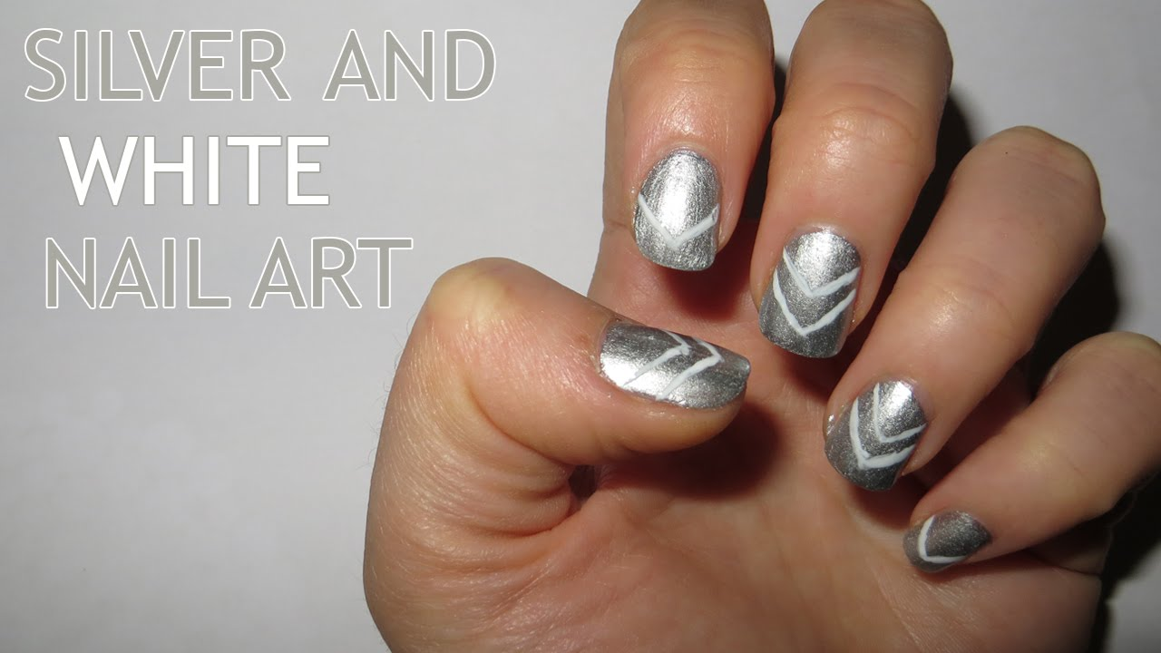 Silver and white nail art easy for beginners youtube prinsesfo Images