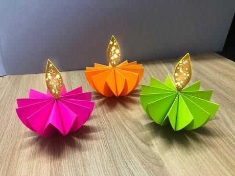 Diy How to make Paper Diya | Diwali Decoration Ideas at Home