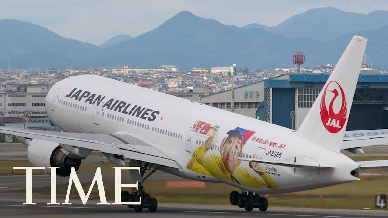 watch flames erupt from a japan airlines flight after a bird