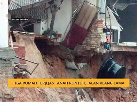 Tiga rumah terjejas tanah runtuh, Jalan Klang Lama