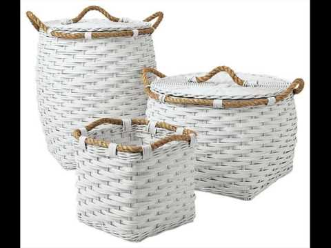 White Wicker Basket | White Wicker Wht Linning Linen Laundry