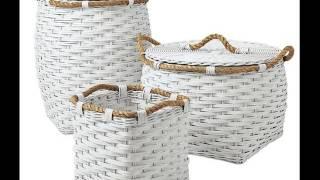 White Wicker Basket | White Wicker Wht Linning Linen Laundry Basket Collection