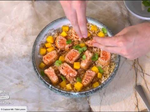 tous-en-cuisine-avec-cyril-lignac-:-la-recette-du-saumon-croustillant,-riz-à-la-mangue,-vinaigrett