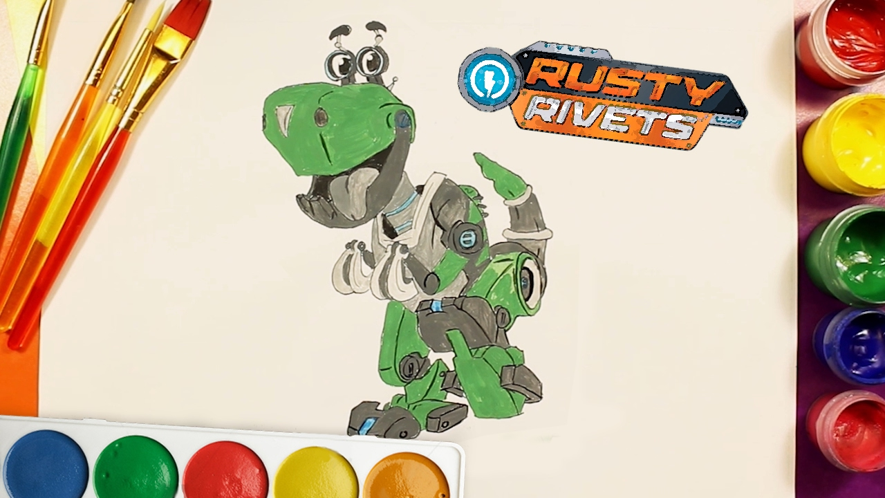 Rusty rivets botasaur draw and color coloring pages for kids rainbow tv