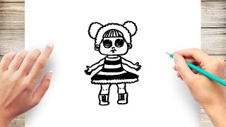 How to Draw Queen Bee LOL Doll Step by Step
